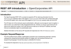 OpenCorporates API screengrab