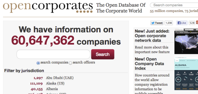 Open and free company data on over 60 million corporations