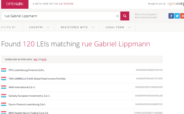 Search LEI system for addresses