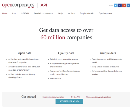 OpenCorporates API front page