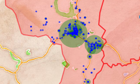 A map showing the distribution of businesses in Hebden Bridge